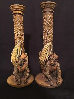 Pair of Vintage 1999 Monkey Candlestick Holder Molded Resin Fez Hat Pillars