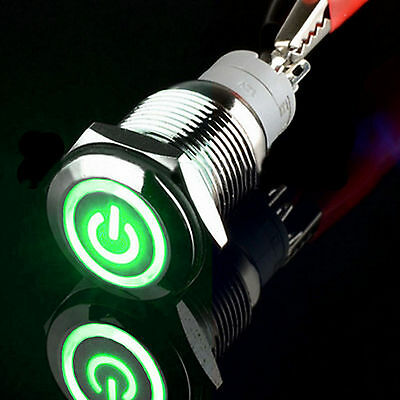 16mm 12v green power angel eye circle led momentary push button16mm 12v green power angel eye circle led momentary push button switch car
