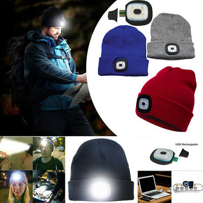 LED Unisex Beanie Hat With USB Rechargeable Battery 5 Hours High Powered Light