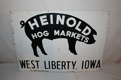 "Vintage 1950's Heinold Hog Markets Pig Farm Feed 28"" Metal Sign"