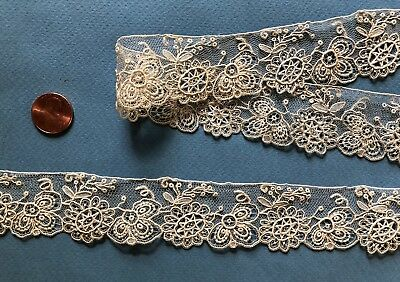 Unusual handmade Brussels Point de Gaze needle lace yardage COLLECT COSTUME DOLL