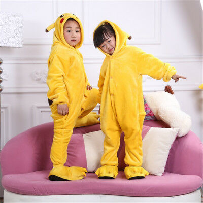 Child Anime Pokemon Pikachu Cosplay Party Siamese Unisex Costume Hooded Yellow