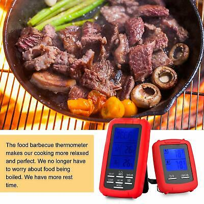 Wireless LCD Remote Thermometer 2 Probes For BBQ Grill Meat Kitchen Oven Cooking