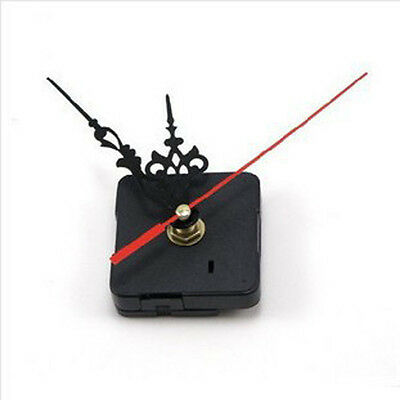 DIY Quartz Movement Silent Clock Mechanism Black and Red Hand Part Kit Tool EA7X
