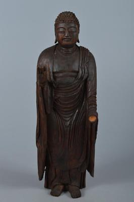 R3503: Japanese Wood carving BUDDHIST STATUE sculpture Ornament Buddhist art