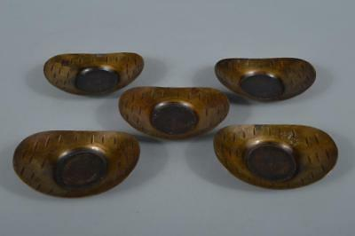 R3506: Japanese Copper Finish hammer pattern TEA CUP TRAY Saucer Chataku 5pcs
