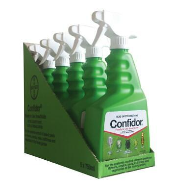 Bayer 5 Bottles of Confidor Ready To Use Garden Insect Control RTU 750mL 3750mL