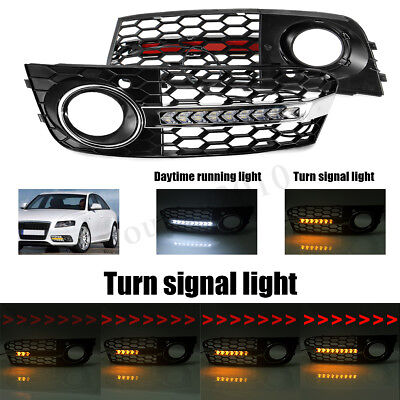 For AUDI A4 B8 Front Bumper Grill Grille Flowing Led Fog Light Turn Signal DRL