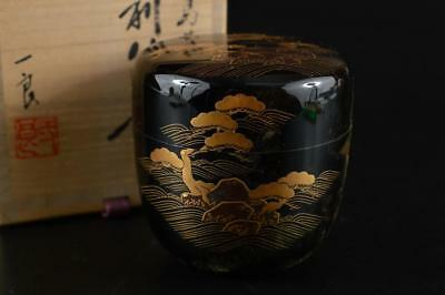 G1770: Japan Wooden Pine gold lacquer pattern TEA CADDY Chaire Container w/box