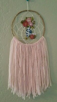 Floral Boho dream catcher in baby pink with blue accent