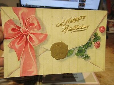 Vintage Old Antique Victorian Era HAPPY BIRTHDAY Postcard Pendleton Indiana  Bow