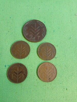 1 2 mils mil coin palestine lot 5 coins 1927 1937 1941 1942  1944 israel