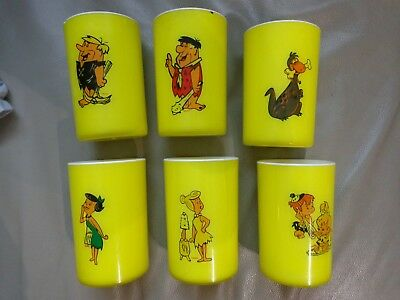 RARE old set of 6 collection cups mugs the Flinstones