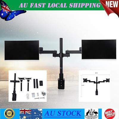 360° Swivel Dual Monitor Stand Mount HD LED Desk Monitor Stand Bracket 2 Arms