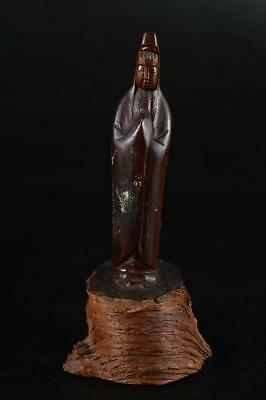 G1830: Japanese Wood carving GUANYIN BUDDHIST STATUE Kannon Tea Ceremony