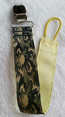 Baby Soother/Pacifier Holder w/Metal Clip/Camo
