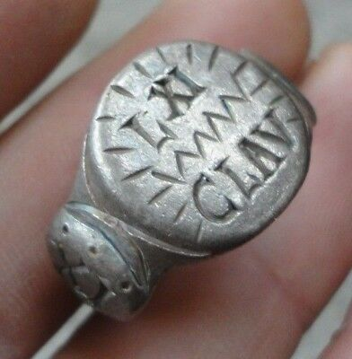 Ancient Roman Senatorial Legionary Silver ring Leg XI Claudia JULIUS CAESAR