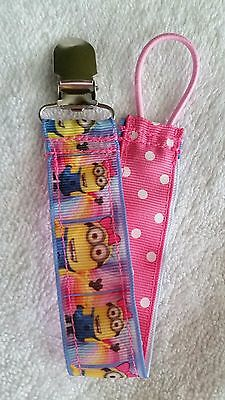 Baby Soother/Pacifier Holder w/Metal Clip/Pink Bow Girl Minions