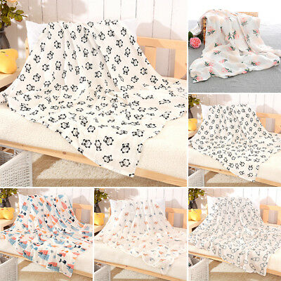 Toddler Cotton Baby Swaddle Blanket Newborn Sleeping Muslin Wrap Bathing Printed