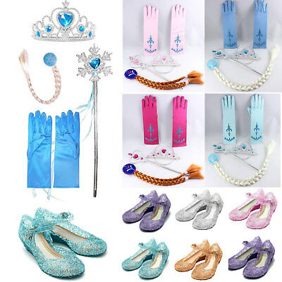 kid Frozen Elsa Princess Crown Tiara Glove Wig Wand Jelly Shoes Accessories Gift