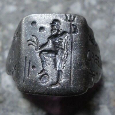 Ancient Roman Senatorial Legionary Silver ring inscribed GOD NEPTUNE - CAESAR