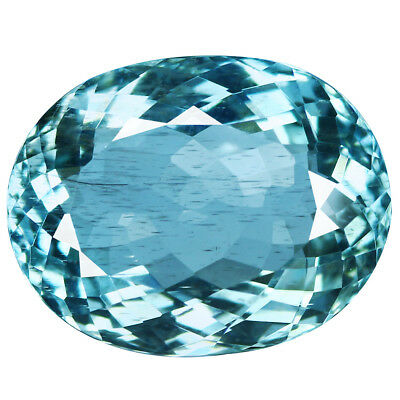 7.37Ct Oval Cut 15 x 11 mm 100% Natural AAA Aqua Blue Color Aquamarine