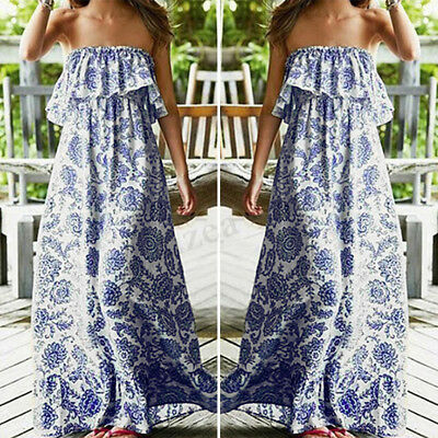 Women Summer Floral Printed Party Evening Gown Ruffle Tube Top Boho Maxi Dress