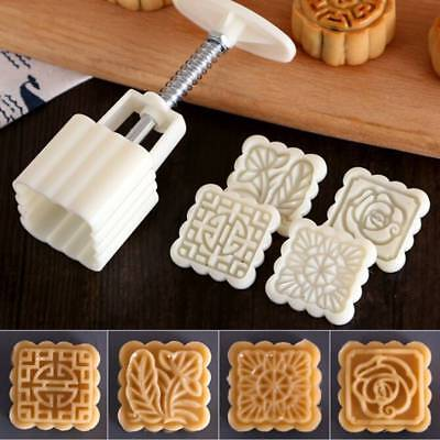 50g Square Flower Moon Cake Mold Mould  Hand DIY Cookie Cutters Cakes Hand Tools