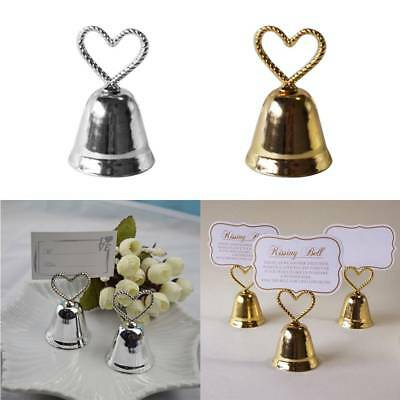 Kissing Bell Wedding Place Card Holder Favor, Table Decor w/ Heart Bow