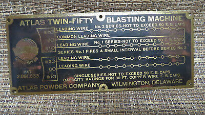 Atlas Twin-Fifty Blasting Machine Brass Instruction Plate Mining Dynamite