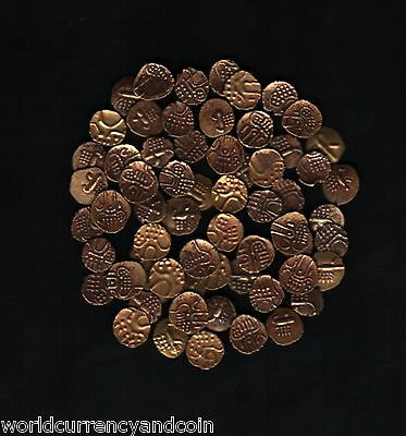 India State Gold Fanams 17 - 18 Century X 10 Pcs Indian Currency Money Coin Lot