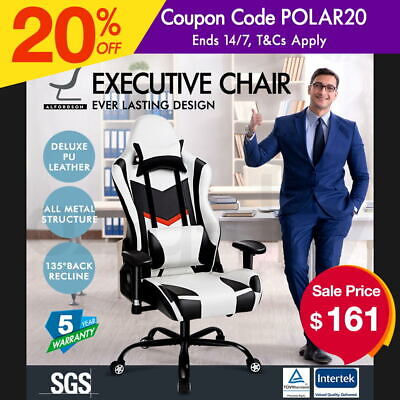 ALFORDSON Racing Office Chair Seat PU Leather Executive Computer Gaming Sport