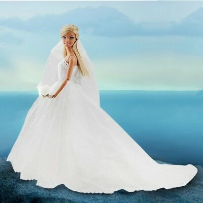 Dolls Dress Clothes For Barbie Doll White Bridal dress wedding Gown flower