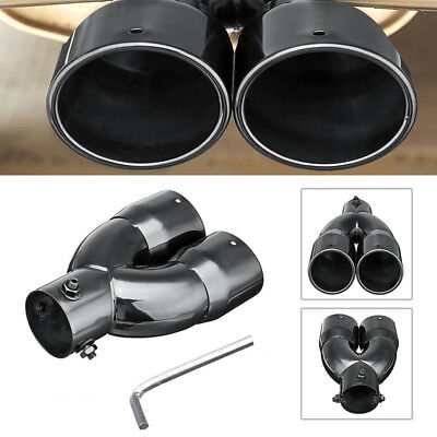 63mm Universal Car Exhaust Pipe Tail Muffler End Tip Glossy Stainless Steel