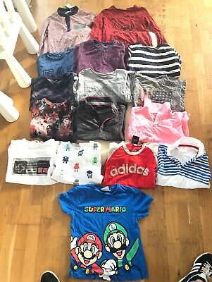 Boys Huge Top Tee Bundle Age 7-8 Mario H&m Adidas Next M&s