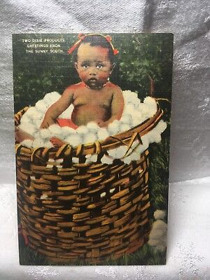 """Vintage Black Americana """"TWO DIXIE PRODUCTS"""" Little Girl In Cotton Basket Post"""