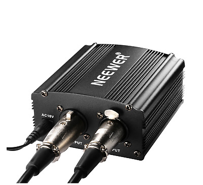 Neewer 1-Channel 48V Phantom Power Supply Black with Adapter and One XLR ...