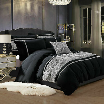 New 3 Piece Bedding Set With Duvet Cover & 2 Pillow Cases Marble Black King Size