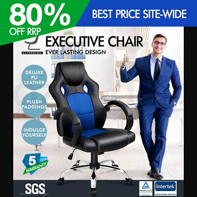 ALFORDSON Racing Office Chair Executive Computer Gaming PU Leather Mesh Seat BLU