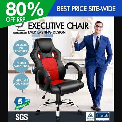ALFORDSON Racing Office Chair Executive Computer Gaming PU Leather Mesh Seat RED