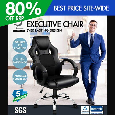 ALFORDSON Racing Office Chair Executive Computer Gaming PU Leather Mesh Seat BK