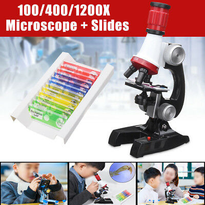Biological Kids Microscope Kit Scientific Birthday Christmas ABS LED Beginner