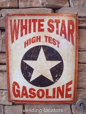 White Star Gasoline Advertising Tin Sign Gas Pump Oil Garage Vintage Style NEW