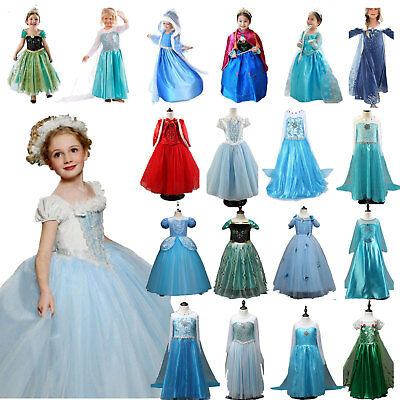 Kids Princess Anna Elsa Dress Fancy Costume Girls Party Xmas Cosplay Clothes Lot