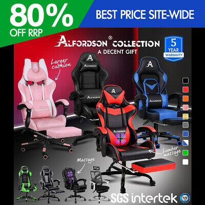 ALFORDSON Racing Office Chair Footrest Seat PU Leather Executive Gaming Sport