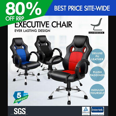ALFORDSON Racing Office Chair Executive Computer Gaming PU Leather Mesh Seat ALL