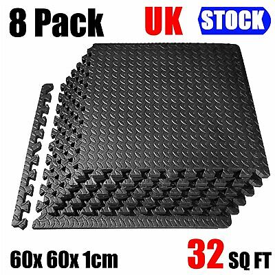 8Pc Interlocking Floor Mat EVA Soft Foam Mats Tiles Gym Kids Play Garage 60*60CM