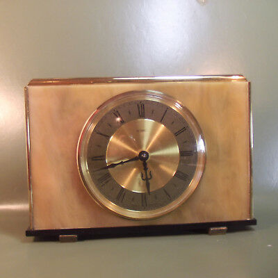 Vintage Art Deco  METAMEC Mantle 8-Day mechanical Clock Light brown Onyx facia