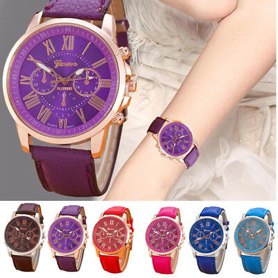 Fashion Geneva Women Leather Band Stainless Steel Quartz Analog Wrist Watch
