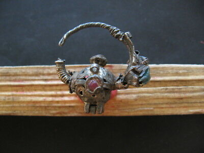 Hallstatt Ancient Celtic Silver Filigree Earring With Coloured Beads 700-500 Bc.